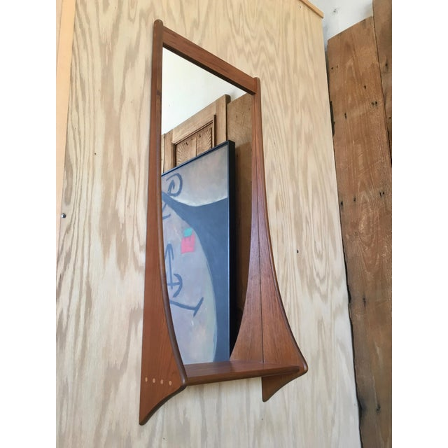 Mid-Century Modern 1960s Vintage Walnut Entry Mirror For Sale - Image 3 of 11