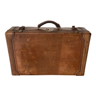 1920's English Leather Suitcase For Sale