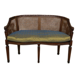 Theodore Alexander Regency Style Double Cane Back Settee For Sale