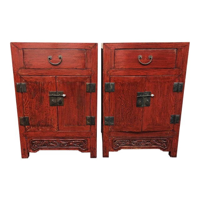 Antique Asian Red Lacquer Side Tables - a Pair For Sale