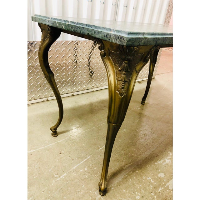 1910s French Louis XV Style Petite Cast Brass Table With Verde Antico Marble Top For Sale - Image 5 of 9