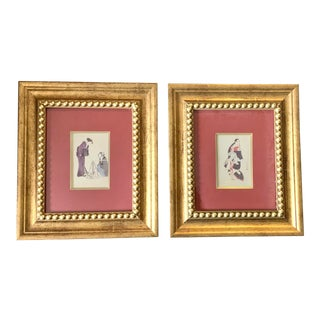 Japanese Geisha Prints in Gilt Wooden Frames - Set of 2 For Sale