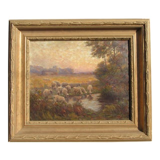 "1920s ""Glow of Evening. Sheep at the Pond."" Charles Franklin Chamberlain Paris Trained/Dexter, Michigan Artist For Sale"
