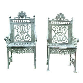 Antique Cast Iron Garden Chairs - A Pair For Sale