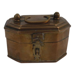 Brass Box with Handle For Sale