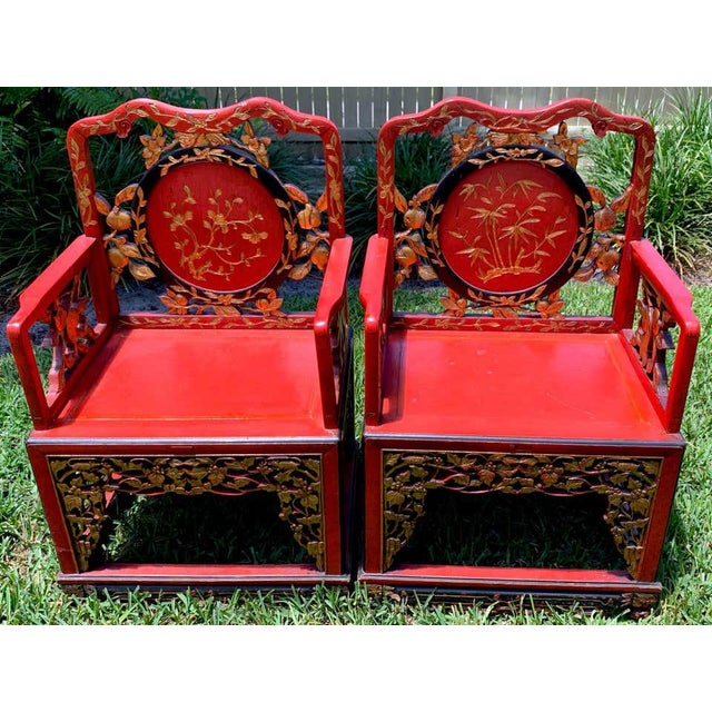 Chinese Red Lacquer and Gilt Throne Chairs - a Pair For Sale - Image 4 of 13