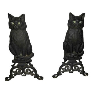 1950s Figurative Cat Design Andirons - a Pair For Sale