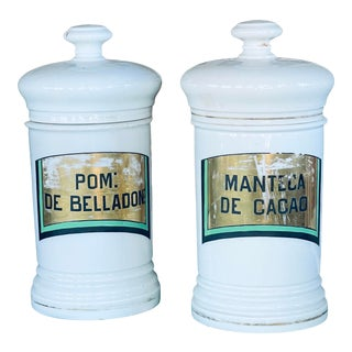 1990s French Apothecary Canisters - a Pair For Sale