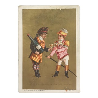 Antique 19th-Century Chromolithograph French Publicity Card For Sale