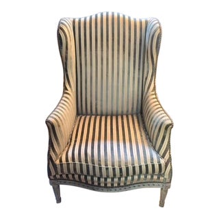 Late 19th Century French Painted Wing Chair For Sale