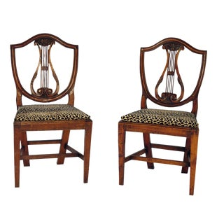 1800s Italian Neoclassical Side Chairs - a Pair