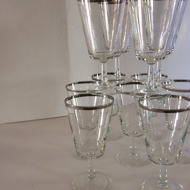 Transparent French Platinum Rim Crystal Cocktail /Water Glasses - Set of 12 For Sale - Image 8 of 11