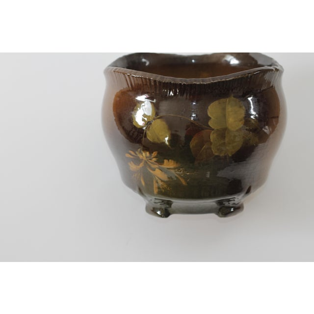 Vintage Brown Ceramic Footed Planter Cachepot Jardiniere With Leaves and Flowers - Image 9 of 11