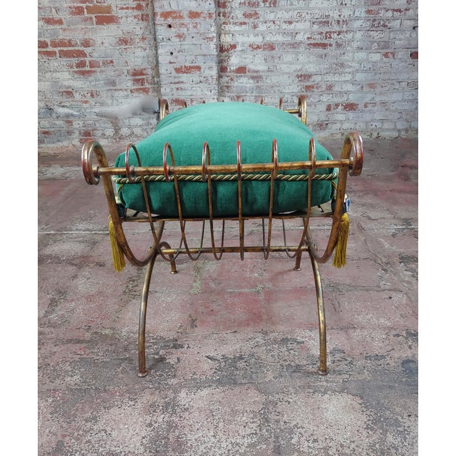 1920s Beautiful Gilt Metal French Lady's Bench W/Velvet Pillow -C1920s For Sale - Image 5 of 10