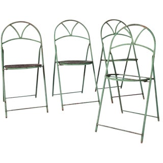 Circa 1890 French Metal Folding Chairs - Set of 3 For Sale