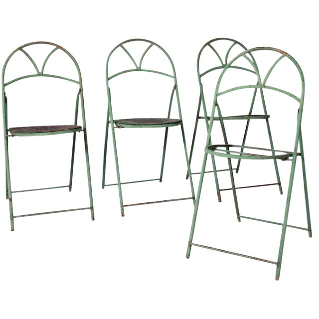 Circa 1890 French Metal Folding Chairs - Set of 4 - Image 1 of 2