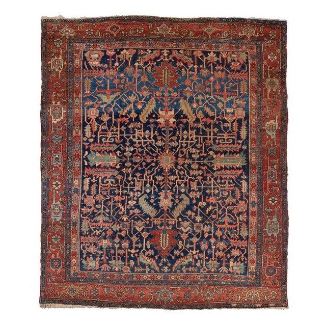 Late 19th Century Heriz Allover Design Blue Ground Carpet For Sale - Image 5 of 5