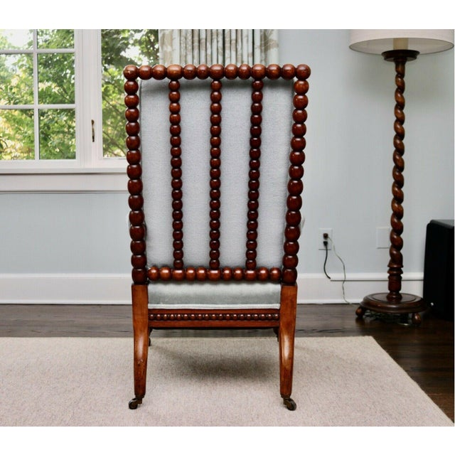 Early 20th Century Classic 20th Century Upholstered English Bobbin Turned Lounge Chair on Castors For Sale - Image 5 of 12