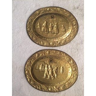 Vintage Old World Scene Oval Brass Plaques - a Pair Preview