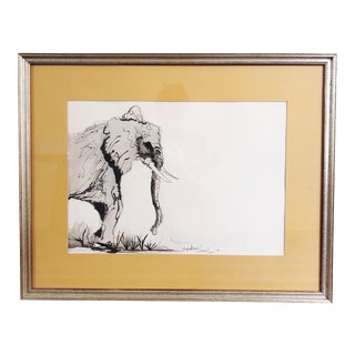 Vintage Sumi-E Elephant Painting For Sale