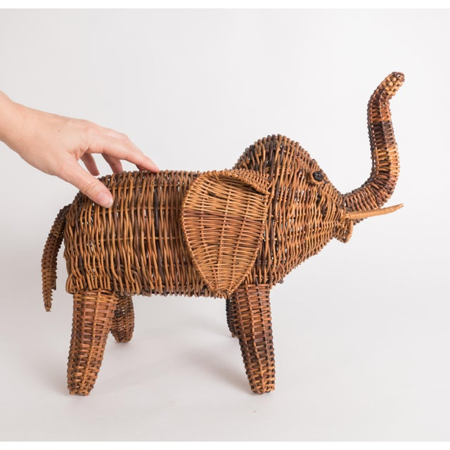 Asian Vintage Wicker Elephant Statue For Sale - Image 3 of 13
