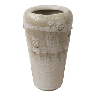 Arne Bang Stoneware Vase With Applied Florets, Denmark 1950s For Sale
