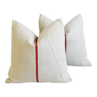 """French Country Red Striped Grain Sack Feather/Down Pillows 22"""" Square - Pair For Sale"""