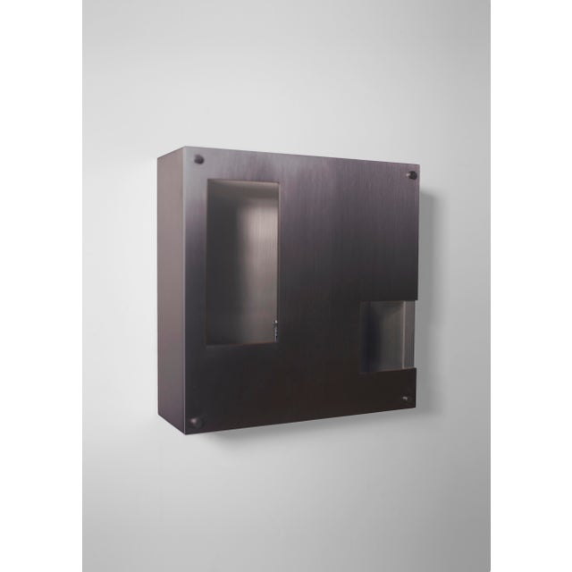 Contemporary Modern Contemporary 001 Sconce in Blackened Brass by Orphan Work For Sale - Image 3 of 4