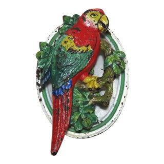 Vintage Macaw Parrot Cast Iron Door Knocker For Sale