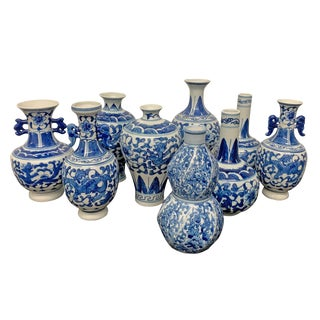 Vintage Assorted Chinese Blue and White Vases - Set of 9 For Sale