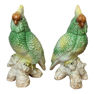 Antique Hand Painted Porcelain Cockatoo Bird Figurines - a Pair For Sale