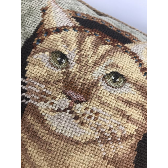 Tan Handmade Needlepoint Royal Cat Pillows - A Pair For Sale - Image 8 of 9