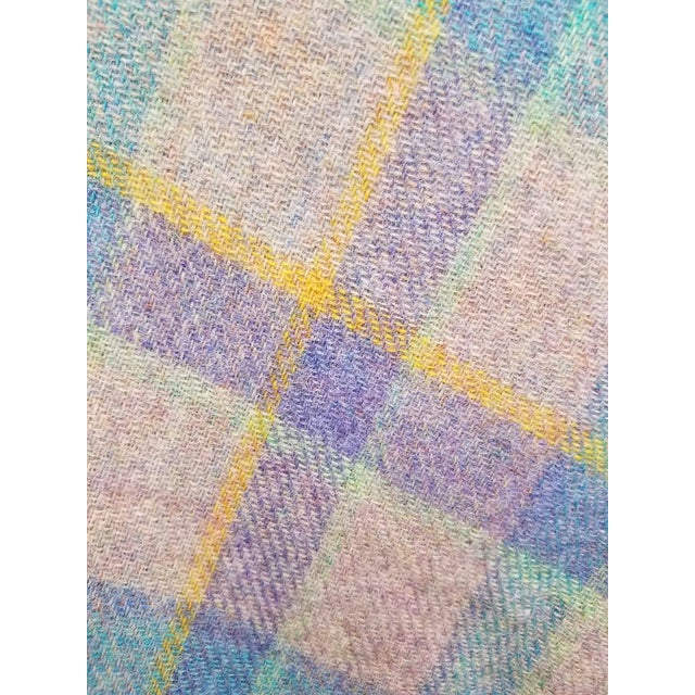Wool Throw Blue and Purple Stripes on a Gray Background - Made in England For Sale - Image 10 of 11