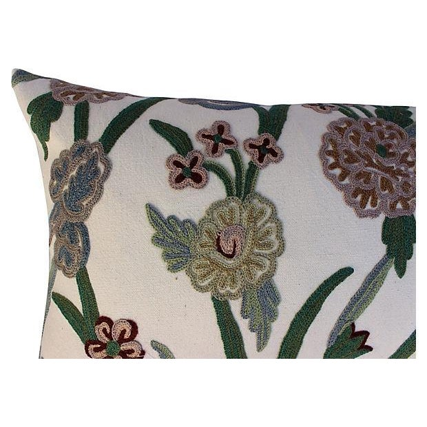 English Crewelwork Floral Pillows - Pair For Sale - Image 4 of 6