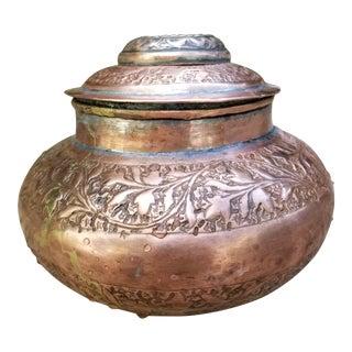 Antique Copper Pakistani Small Storage Jar For Sale