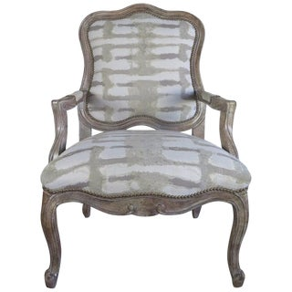 Paul Robert Linen Nailhead Bergere Chair For Sale