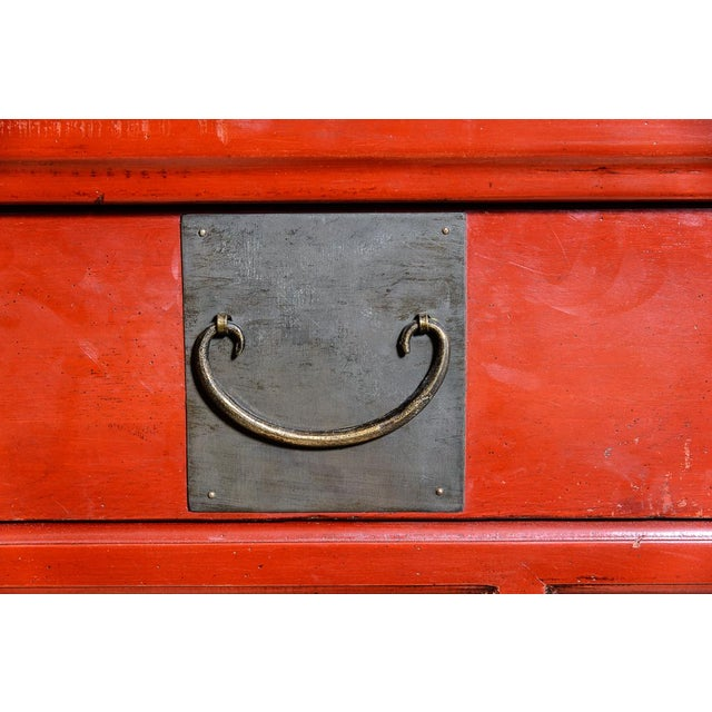 Asian Red Wooden Coffee Table For Sale In West Palm - Image 6 of 10