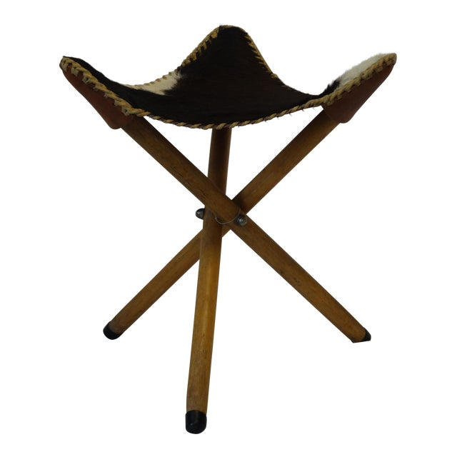 Folding Cow Hide Stool - Image 1 of 4