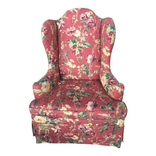 Floral Wing Back Chair Highback For Sale