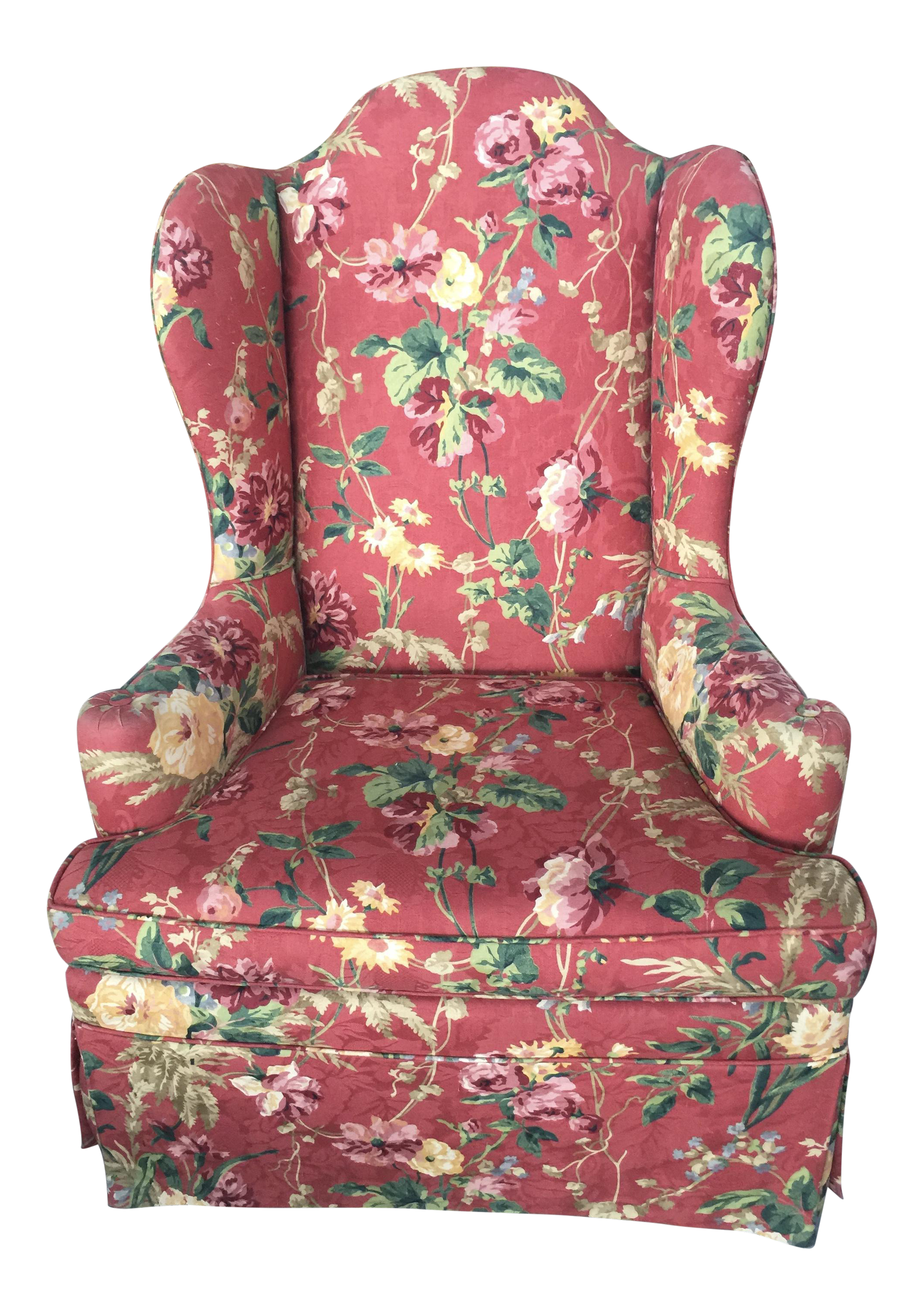 Floral Wing Back Chair Highback