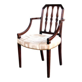 A Handsome English George III Sheraton Mahogany Arm Chair For Sale