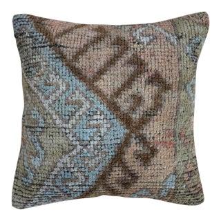 1960s Vintage Blue Sage Kilim Pillow For Sale