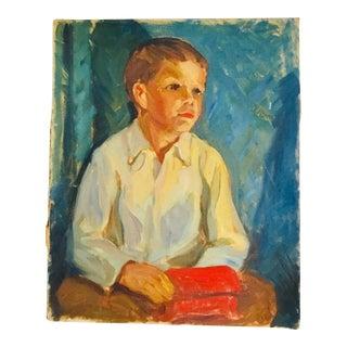 1950s Vintage Portrait of a Boy Painting For Sale
