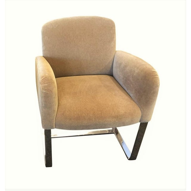 Modern Signed Donghia Tan Mohair Modern Designer Focal Arm Chair For Sale - Image 3 of 3