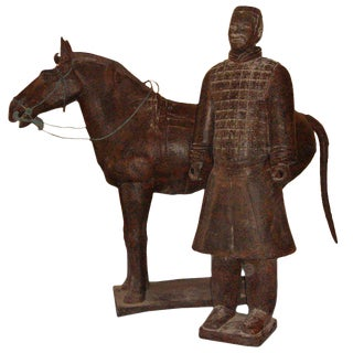 Chinese Life-Size Horse and Warrior - 2 Pc. Set For Sale