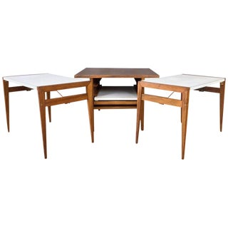 John Keal for Brown-Saltman Walnut and Laminate Folding Table Set