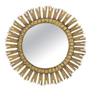 Spanish, 1950s Giltwood Sunburst Mirror With Carved Frame For Sale