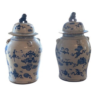 Blue and White Urns With Lids - a Pair For Sale