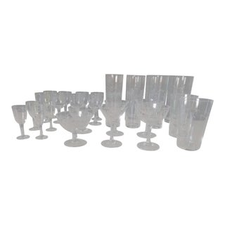 1920's Etched Bamboo Hand Blown Crystal Glassware by Noritake - 28 Pieces For Sale