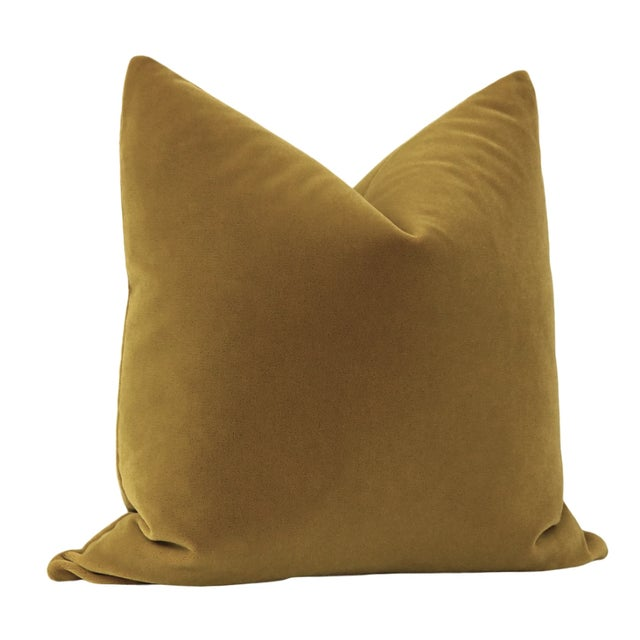 "Contemporary 22"" Bourbon Mohair Velvet Pillows - a Pair For Sale - Image 3 of 5"